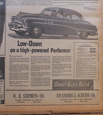1951 newspaper ad for Buick - Low down on high-powered Performer, Buick Special