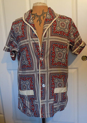 Vintage 50s 60s Patio Lounger by Pleetway Shirt cotton Size B Chest 46