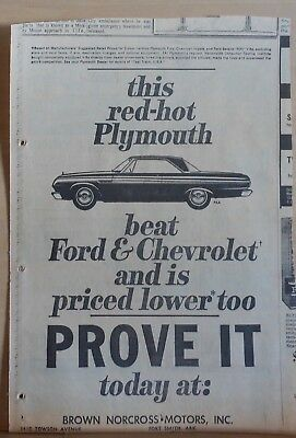 1964 newspaper ad for Plymouth Fury - beats Ford and Chevrolet, Prove it today