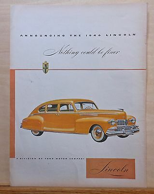 """Vintage 1946 magazine ad for Lincoln - yellow four door """"Nothing Could Be Finer"""""""