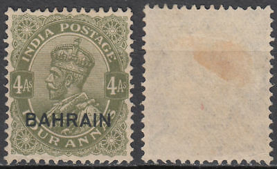 1935 Bahrain Mi.19 no gum, Definitive 4a olive-green, ovpt. on India [st3650]