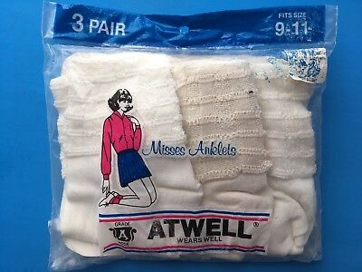 NEW VINTAGE White & CREAM Lacy Nylon ANKLETS Socks By ATWELL 9-11 NOS RARE stock