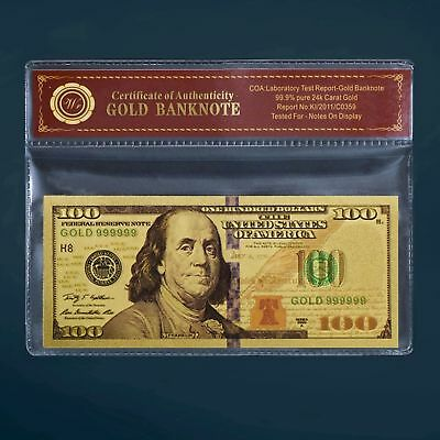 24K Gold Foil Plated $100 Gold Dollar Novelty Bill Banknote Newest Arrival W/coa