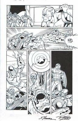 Captain America Vs. Chitauri, Avengers Orig. Ink Art-2014-By Lim & Hanna-Signed!
