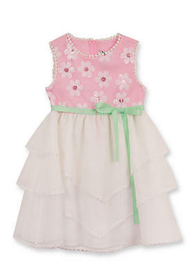 66c3d2728a0 RARE EDITIONS Girls' 2T, 3T Pink & White Daisy Sequin Ruffle Dress NWT $55