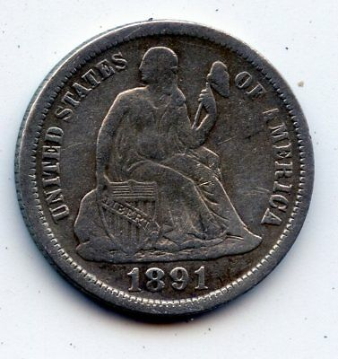 1891-o SEATED LIBERTY DIME - SCARCE !! (SEE PROMO)