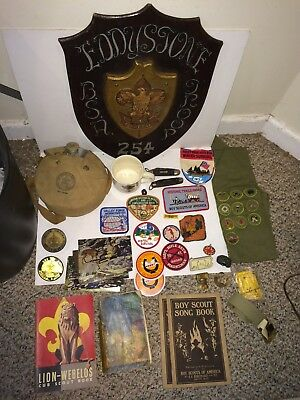 Vintage Boy Scout BSA Eddystone PA Plaque.Patches,Canteen,Slides,Belt,Penknife