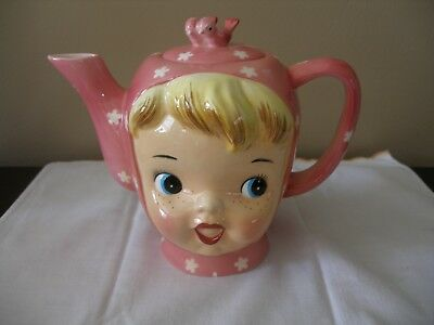 Miss Cutie Pie: Napco: Japan: Tea Pot: Pink: Freckles: A3506: Hand Painted China