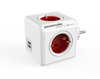 Allocacoc PowerCube Duo USB Original Rot Reiseadapter 4x Steckdose und Vertei