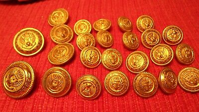 25 LG/SM Mens Blazer Buttons Set Gold Brass Crown Eagle Anchor