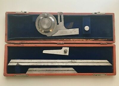 Vintage Brown & Sharpe No 496 Bevel Protractor USA Machinist Tool