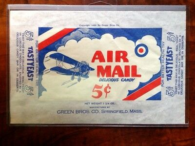 FANTASTIC AIR MAIL GREEN BROS CO. CANDY BAR WRAPPER 5 c 1930 EXCELLENT CONDITION