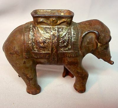 Antique Cast Iron Bank A C Williams Elephant W/ Howdah Not A Repro Trunk Missing