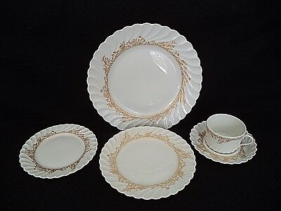 French Haviland china Ladore 5pc place setting plates cup gold on white swirl