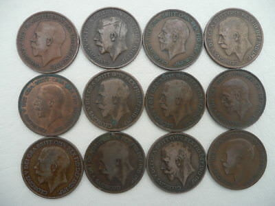 Lot of 12 King George the 5th V One Penny Coins of England - pre war