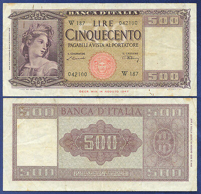 Italy 500 Lire Series W187  Very Fine 1948 - Replacement