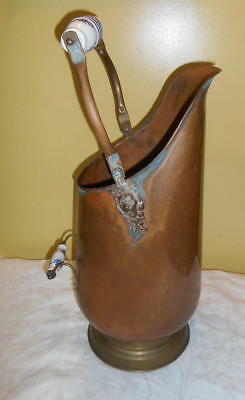 Vintage Tall Copper Coal Ash Bucket Scuttle Delft Handles Brass Handle and Base