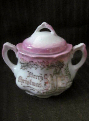 Merry Christmas SANTA CLAUS Antique Child SUGAR BOWL Tea Set~Germany Pink Luster