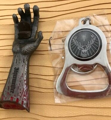 NWT Jagermeister Zombie Magnetic Bottle Opener,bloody hand + Jager Key Chain