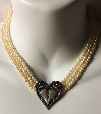 Triple Strand Genuine Pearls Sterling Silver Heart Necklace