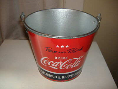 EUC Coca Cola Tin Can Ice Bucket Pail Stars Stripes Red White Blue Pause Refresh