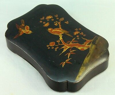 ! Antique Meiji Japanese Hand Painted Black Lacquered Wood Box w. Bird