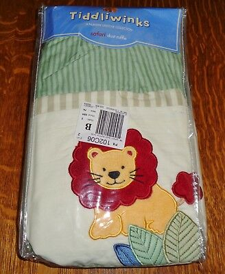 NEW Nursery Crib Dust Ruffle Lion Elephant Tiddliwinks Safari