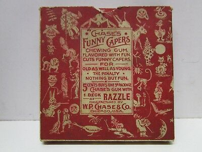 c1890s WP Chase's Funny Capers Gum Razzle Game Cards with Box - Exceedingly Rare