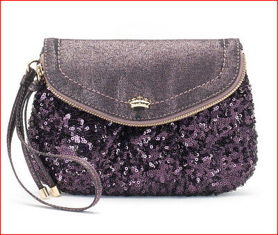 Juicy Couture Designer Traveler WRISTLET Clutch FLAP Purse  GRAPE Purple SEQUINS