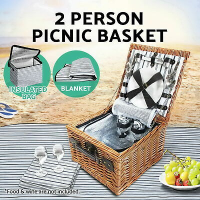 Cooler Picnic Basket Willow Bag Fresh Cold Drinks Cheese Park Sports Beach Blue