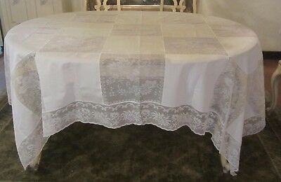 Vintage Ecru Cream Rectangle Lacy Army Navy Tablecloth 65 X 88 Unused