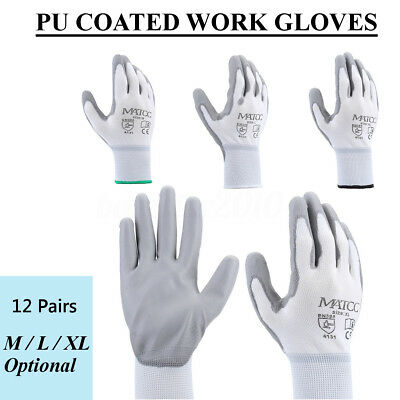 12Pairs M/L/XL Nylon PU Coated Safety Coating Work Gloves Garden Builders Grip