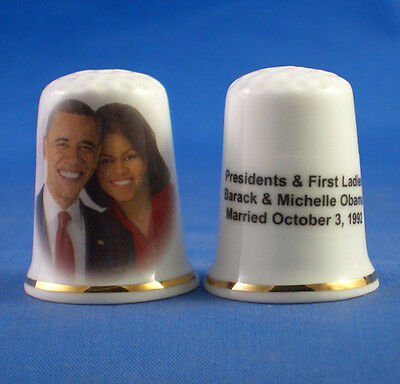 Fine Porcelain China Thimble - Barack And Michelle Obama Married 1992