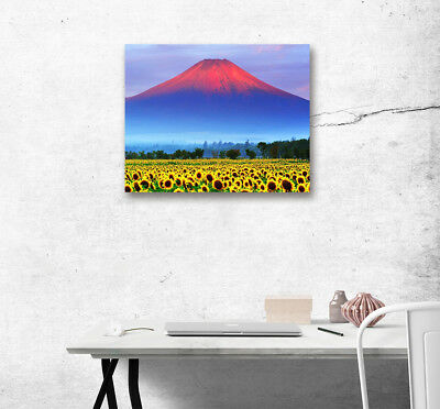 Color Mountain Sunflower Modern Wall Art Poster Print Home Decor Canvas Painting