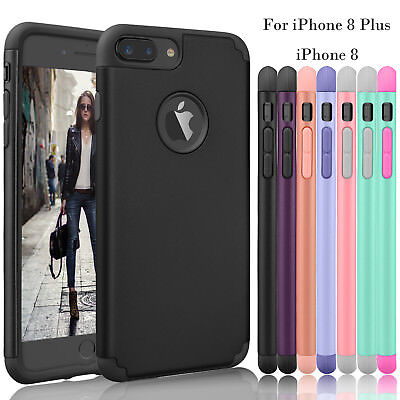 For iPhone 8 Plus / iPhone 8 Shockproof Slim Thin Skin Rubber Hard Case Cover