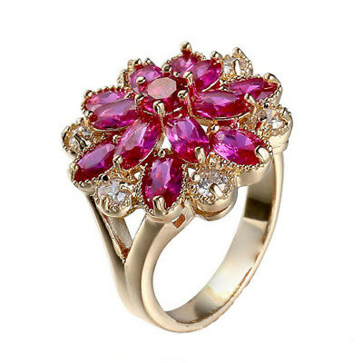 Multi High Quality Horse Eye Shaped Rose Topaz Rose Gold Plated Ring Size 6-10