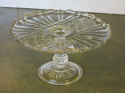 Vintage Pressed 'Cut Glass' Cake Stand 25cm Wide and 13cm High