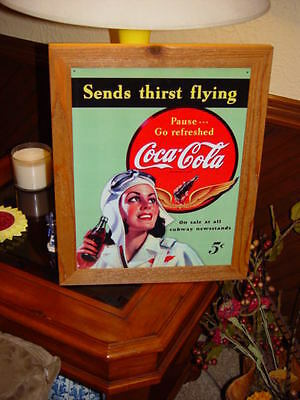 Coca Cola Custom Cedar Framed Vintage Retro Tin Pilot Bar Sign