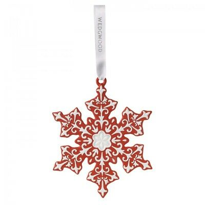 Wedgwood Large Red Snowflake Porcelain Christmas Tree Ornament Decoration New