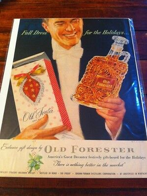Vintage 1953 Old Forester Whiskey Full Dress For The Holidays Christmas Art ad