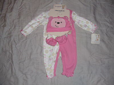 Buster Brown Baby Girls Size 0/3M Or 3/6M Three Piece Footless Sleeper Set Nwt