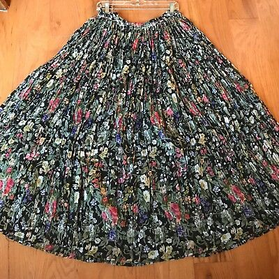 Vintage Long Full Boho Hippie Festival Cotton Gauze Skirt Black Floral Bells! L