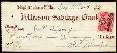 Jefferson Savings Bank Shepherdstown, W.VA. Dec 1898 Check for $91.99