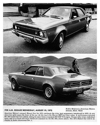 1971 AMC Hornet SST Sedan & SC/360 Coupe Factory Photo ca8924