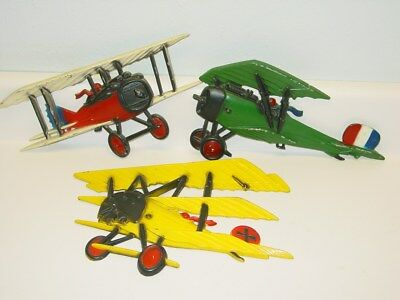 3 Vintage Homco Metal Bi-Planes, Airplanes, Wall Hangings, Wall Plaques, 1975