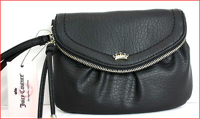 Juicy Couture Designer Traveler WRISTLET Clutch FLAP Over Purse - BLACK   *NEW*