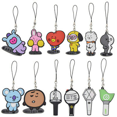Kpop BTS BT21 PVC Keychain Bangtan Boys WANNA ONE GOT7 EXO Keyring Phone Strap