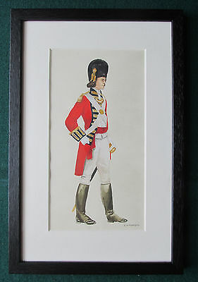 23rd Foot Royal Welch Fusiliers Officer 1790 Antique Signed Watercolour Military