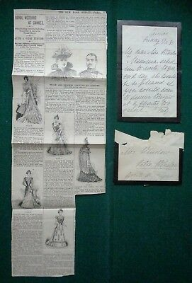 Duchess Alexandrine of Mecklenburg-Schwerin Queen of Denmark Signed Letter 1891