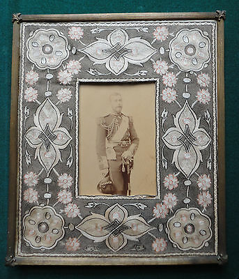 King George V Signed Uhlenhuth of Coburg Cabinet Photo Antique Embroidered Frame
